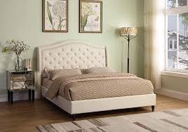 Best Master Furniture Beige Upholstered Queen Headboard with posts