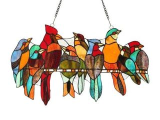 Chloe Tiffany style Stained Glass Bird Window Panel  Retail 123 99