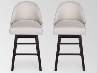 Boyd Modern Upholstered Swivel Bar Stool  Set of 2  by Christopher Knight Home  Retail 249 99