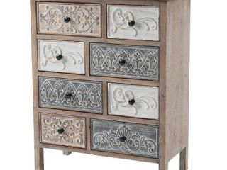 luxen Home 32 25 in  H Natural Wood Rustic Carved 8 Drawer Chest