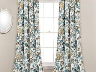 Set of 2  95 x52  Cynthia Jacobean Room Darkening Window Curtain Panels Blue   lush Decor