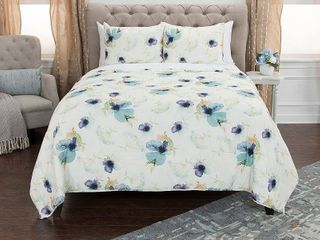 Maddux Place White Blue Hand Quilted Cotton Reversible 3 Piece Quilt Set  Retail 139 49