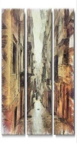 DesignArt Path in the Street Watercolor city street canvas