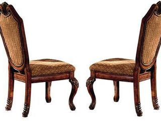 Acme Furniture Chateau De Ville Two tone Cherry Wood Chairs  Set of 2  Retail 287 49