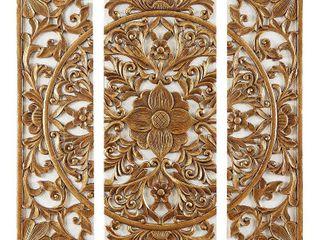 Madison Park Gold Medallion Gold 3 Piece Canvas Set Medallion 3D Design  Retail 103 99