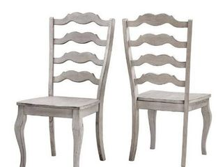 Set of 2 Eleanor French ladder Back Wood Dining Chairs