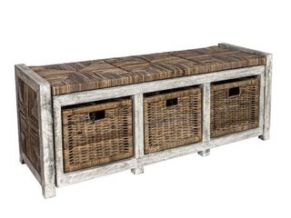 Happimess Rustic 43 3  3 Drawer Wicker Storage Bench  Gray  Retail 302 99