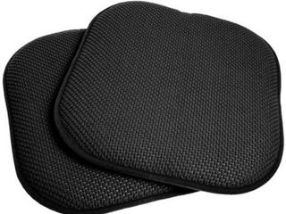 4 Black 16 inch Memory Foam Chair Pad Seat Cushion with Non Slip Backing   4 Pack