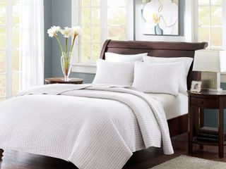 White Khaki Mitchell Solid Brushed Fabric Quilt Set Full Queen 3pc