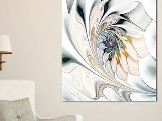 White Stained Glass Floral Art   large Floral Wall Art Canvas   Retail 131 99