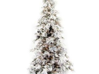 7 5  Flocked Pine long Needle Prelit Christmas Tree