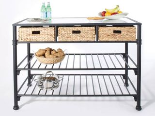 Inspired by Bassett Paula Kitchen Island with Faux White Marble Top and Black Frame with Natural Woven Baskets  No Tool