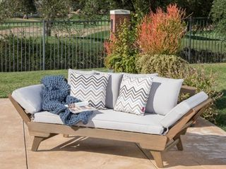 Ottavio Outdoor Wood Daybed with Cushions by Christopher Knight Home  Retail 479 99