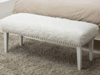 Silver Orchid Fields Nailhead Upholstered Bench