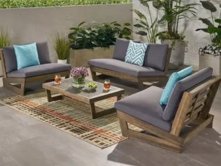 Sherwood Outdoor 4 Seater Acacia Wood Chat Set with Coffee Table by Christopher Knight Home  Retail 787 99