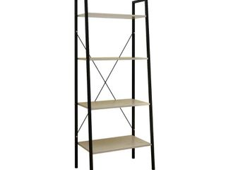 luxen Home Wood and Metal 58in  H ladder Shelf 4 Tier Etagere