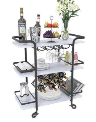3 Tier Black Wine rack cart wine cart bar cart With black wheels Retail 234 49