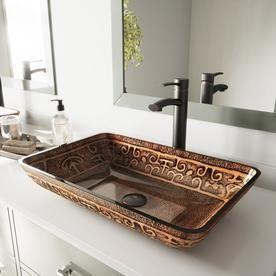Vigo Rectangular Glass Vessel Bathroom Sink  Golden Greek