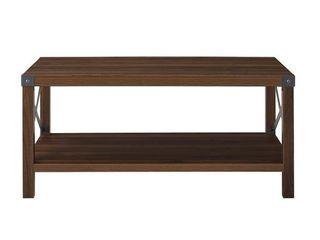 Rustic Wood Coffee Table   Dark Walnut