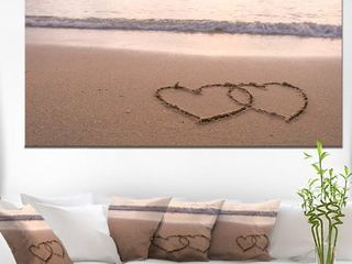 Two Hearts Drawn on the Beach   Extra large Seascape Art Canvas  Retail 147 49