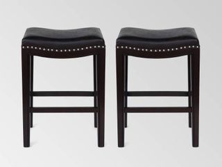 Tiffin Contemporary Studded Fabric Counter Stool  Set of 2  by Christopher Knight Home  Retail 162 99