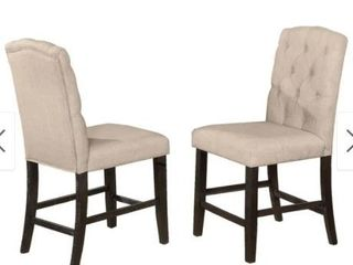 Wooden Counter Height Dining Chair with Button Tufting  Set of 2 Beige