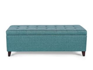 Homebeez Ottoman Bench with Storage Ottoman  Turquoise Blue  Fabric