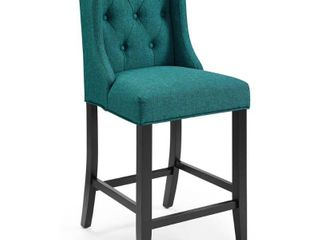 Baronet Tufted Button Upholstered Fabric Counter Height Barstool Teal   Modway