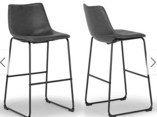 Carbon loft Richard Faux leather and Iron Counter Stool  Set of 2    Retail 136 99