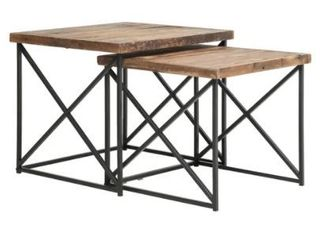 Argos Reclaimed Wood Nesting Tables  Set of 2