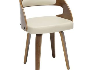 18  Bentwood Frame Mid Century Modern Dining Chairs with Vinyl Back and Seat Cushion Ivory