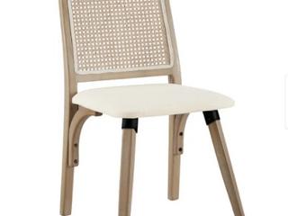 Art leon Rattan linen Fabric Cane Dining Chair  Beige
