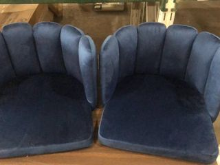 Plush Velvet Blue Gaming Chairs with No legs Set Of 2