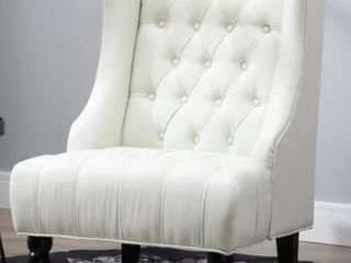 Copper Grove Erin linen upholstered White Button tufted Tall Wingback Accent Chair with Wood legs   Retail 238 49
