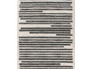 JONATHAN Y Khalil Modern Berber Stripe Cream Black Area Rug