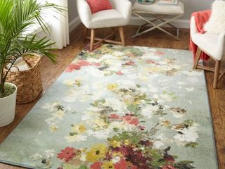 Mohawk Home Prismatic Merging Floral Multi Transitional Floral Precision Printed Area Rug  5 x8  Green   Yellow