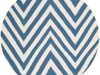 Nala Dhurry Rug   Blue Ivory    6 x6  Round    Safavieh