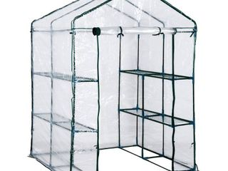 Outsunny PE Cover  Steel Frame Outdoor Greenhouse Kit with 8 Shelves Retail 84 98