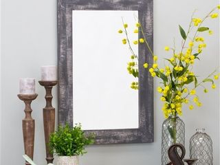 Morris Rustic Wood Wall Mirror   Gray 30  x 20  by Aspire