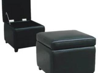 Barcy Black Bi cast leather Storage Cube