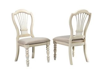 Hillsdale Pine Island Wheat Back Side Chair   Set of 2  Old White