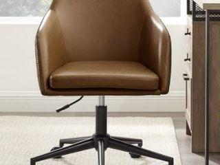 Carson Carrington Upholstered Barrel Swivel Task Chair  Whiskey Brown  Missing Cushion
