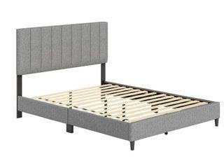 Sleep Sync leonardo Upholstered linen Full Size Platform Bed  Grey