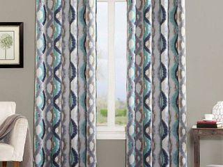 Henniker Watercolor Wave Room Darkening Grommet Curtain Panel Pair linen   Sun Zero  95  x 54