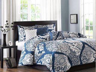 Madison Park Marcella Indigo Cotton Printed 7 Piece King Comforter Set   Retail 122 98