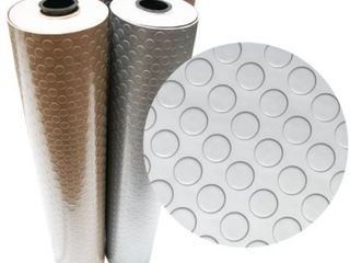 Rubber Cal  Coin Grip Metallic  PVC Flooring  4ft  x 6ft