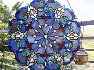 Gracewood Hollow Beidao Circular Blue Glass Window Panel Suncatcher