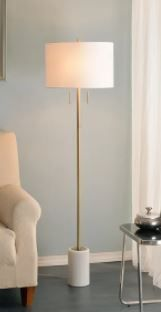 Beau 62  Floor lamp Antique Brass and Marble Base