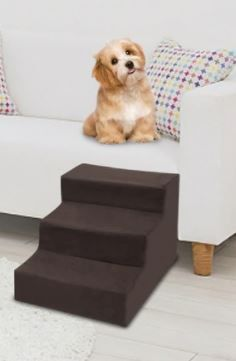 3 Step Velvet Suede Pet Stairs  Small
