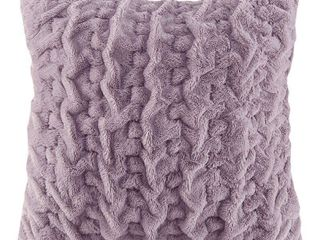 Oversized Ruched Faux Fur Euro Square Throw Pillow lavender